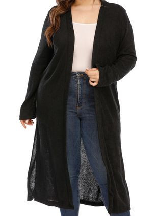 Plus Size Long Sleeve Collarless Coats (104701952)