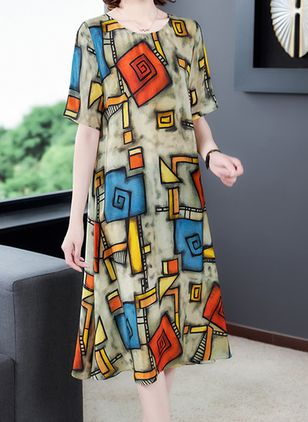 Casual Color Block Tunic Round Neckline Shift Dress (100546589)