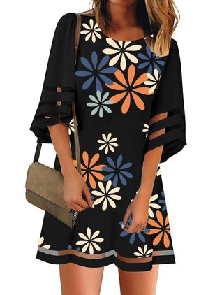 Casual Floral Tunic Round Neckline A-line Dress (5144755)