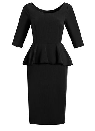 Casual Solid Pencil Round Neckline Sheath Dress (146737541)