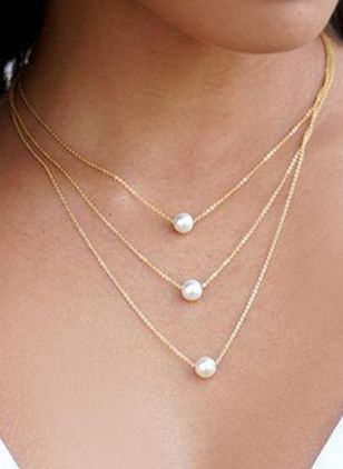 Elegant Ball Pearls Pendant Necklaces (107562626)