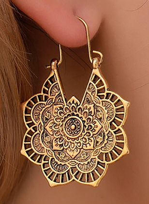 Casual Floral No Stone Dangle Earrings (4134866)