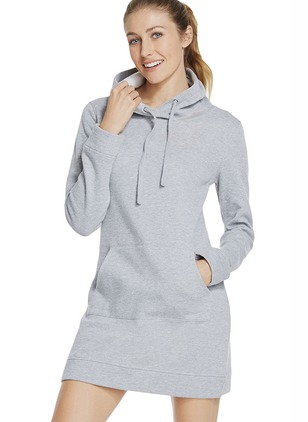 Solid Basic Cotton Blends Hooded Pockets Sweatshirts