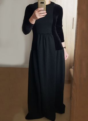 Color Block Long Sleeve Maxi A-line Dress