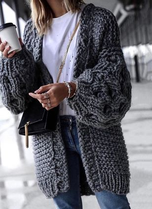 Long Sleeve Collarless Sweaters Coats