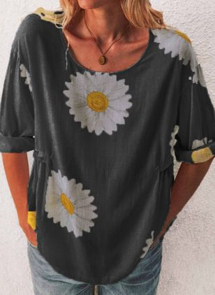 Floral Round Neck Long Sleeve Casual T-shirts (5502184)