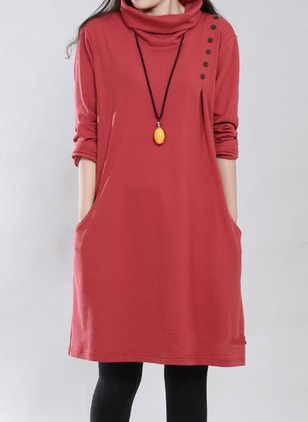Casual Solid High Neckline Knee-Length A-line Dress (1096064)