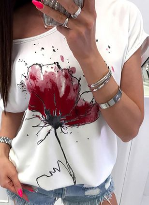 Floral Round Neck Short Sleeve Casual T-shirts (1532872)