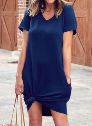 Casual Solid Tunic V-Neckline A-line Dress (5502408)