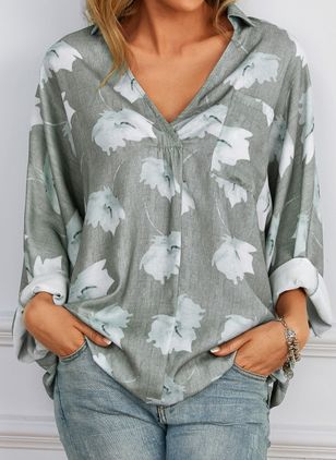 Plus Size Floral V-Neckline Casual Shift Blouses Long Sleeve Plus Blouses (1524922)