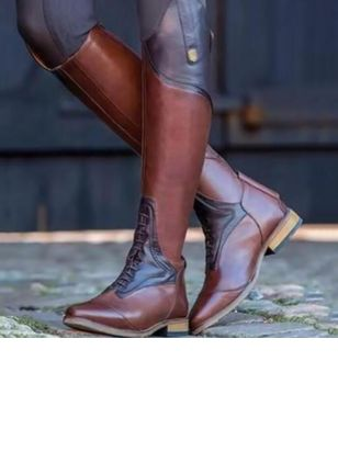 Knee High Boots Low Heel Shoes