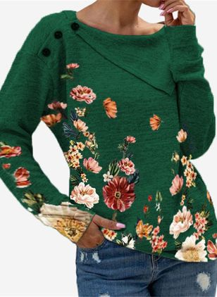 Round Neckline Floral Casual Regular Buttons Sweaters (127657356)