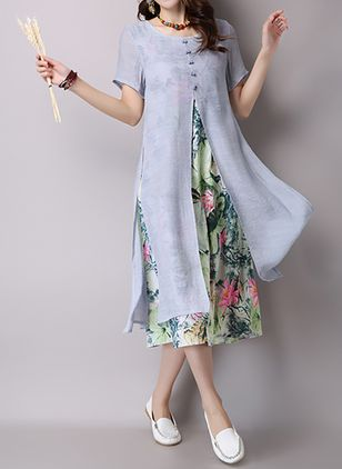 Chinese Style Round Neckline Short Sleeve Midi A-line Dress (1019763)