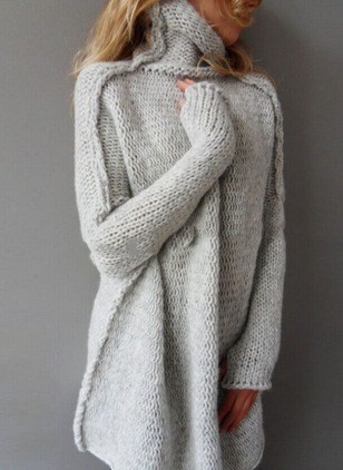 High Neckline Solid Loose Sweaters