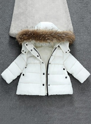 Girls' Basic Solid Hooded Coats