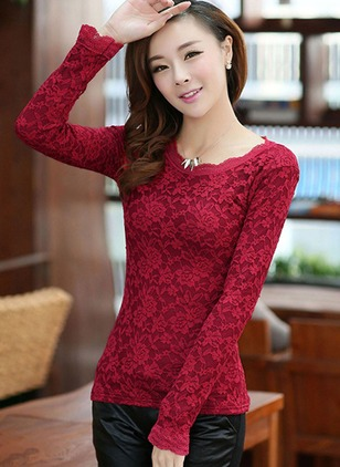 Polyester Floral Round Neck Long Sleeve Sexy T-shirts
