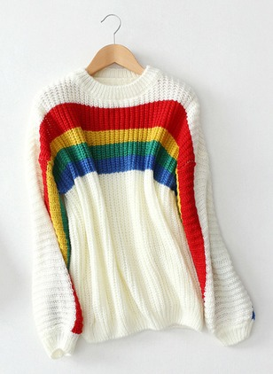 Mohair Round Neckline Stripe Loose None Sweaters