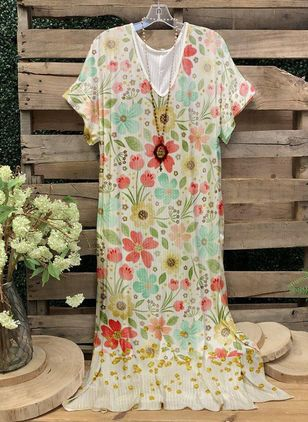 Casual Floral Tunic V-Neckline A-line Dress (147966363)