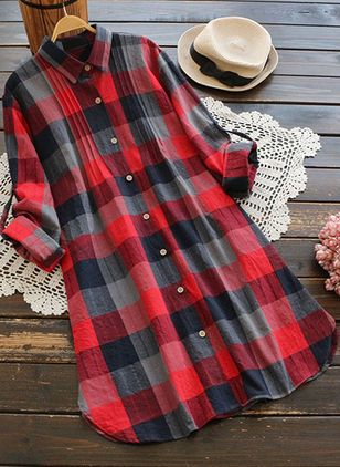 Check Casual Collar Long Sleeve Blouses