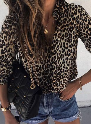Leopard Sexy Collar Long Sleeve Blouses