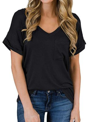 Solid V-Neckline Short Sleeve Casual T-shirts (4229296)