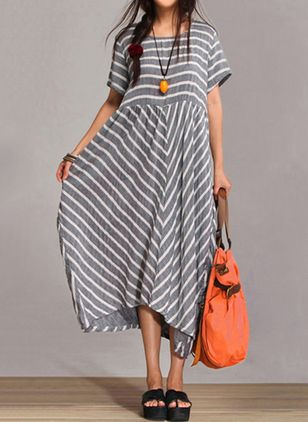 Stripe Short Sleeve Maxi A-line Dress