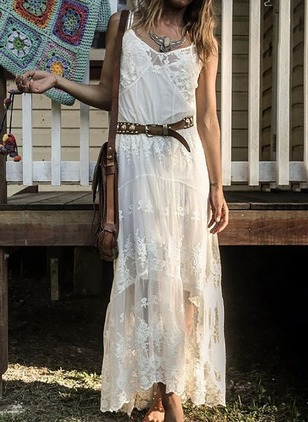 Solid Lace Tank Maxi Shift Dress