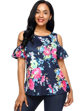 Floral Round Neckline Short Sleeve Blouses