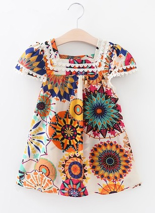 Girls' Graphic Beach Cap Sleeve Dresses