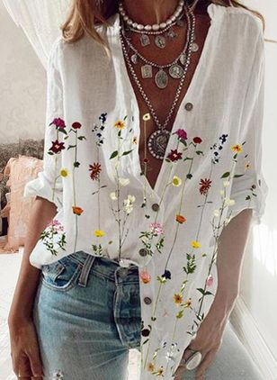 Floral Casual V-Neckline Long Sleeve Blouses (147142859)