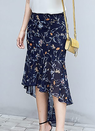 Chiffon Floral High Low Casual Blue Skirts