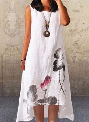 Casual Floral Tunic Round Neckline Shift Dress (4458300)