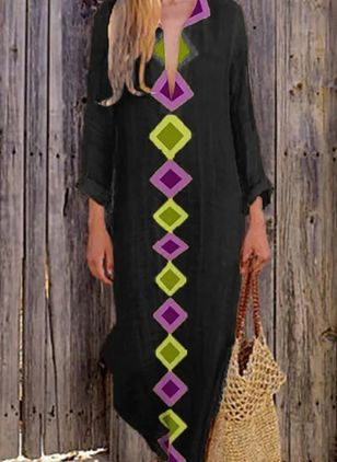Casual Geometric Tunic V-Neckline Shift Dress (4209062)
