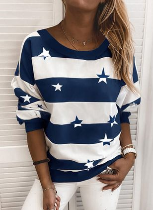 Color Block Round Neck Long Sleeve Casual T-shirts (101923953)