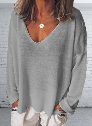 Solid V-Neckline Long Sleeve Spring T-shirts (1534990)