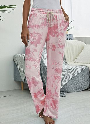 Casual Loose Pattern Pockets Mid Waist Polyester Pants (146723125)