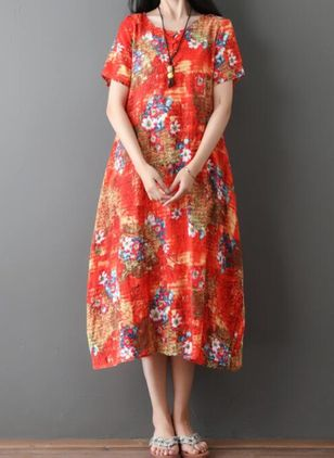 Casual Floral Tunic Round Neckline A-line Dress (4049261)