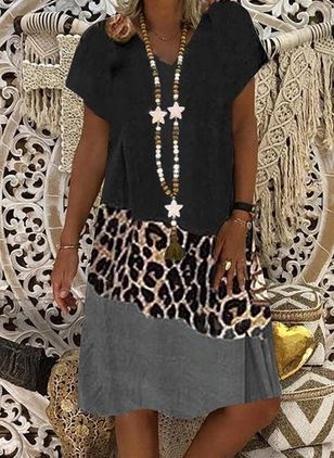 Casual Leopard Tunic V-Neckline Shift Dress (4143605)