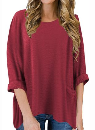 Solid Round Neck Long Sleeve Casual T-shirts (100002348)