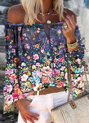 Floral Casual Off the Shoulder Long Sleeve Blouses (101326713)