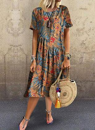 Floral Tunic Round Neckline Midi Shift, Dress