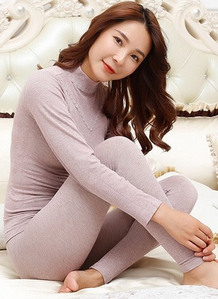 Cotton High Neckline Plain Loungewear