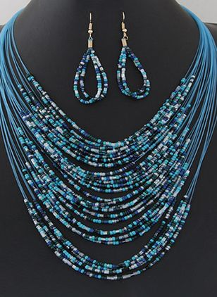 Water Drop No Stone Necklace Earring Jewelry Sets (4074252)