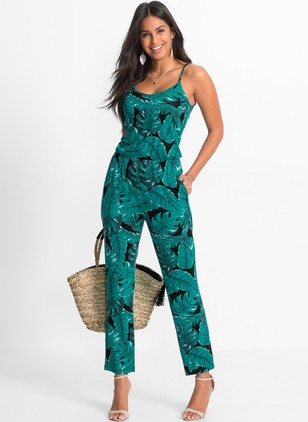 Rayon Floral Sleeveless Casual Jumpsuits & Rompers
