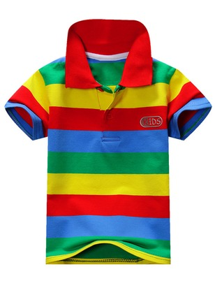 Boys' Color Block Collar Short Sleeve Tops