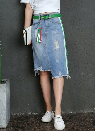 Denim Color Block High Low Casual Hollow Out Skirts