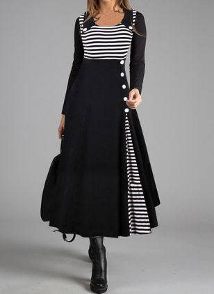 Casual Stripe Tunic Round Neckline A-line Dress (109973666)