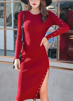 Solid Beading Sweater Knee-Length Sheath Dress