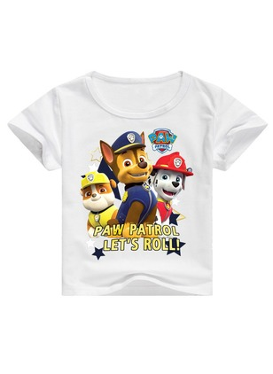 Boys' Cartoon Round Neckline Short Sleeve Tops