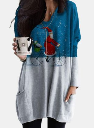 V-Neckline Character Christmas Loose Regular Pockets Sweaters (128229717)